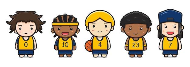 かわいいバスケットボール選手の漫画アイコンベクトルイラストのセットです。白で隔離のデザイン。フラットな漫画のスタイル。