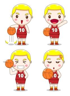 다른 스타일으로 귀여운 농구 선수의 세트