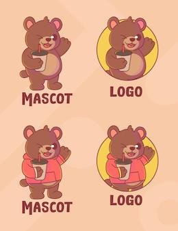 옵션 모양의 귀여운 곰 커피 마스코트 로고 세트.