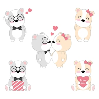 Набор милый медведь влюбленная пара.