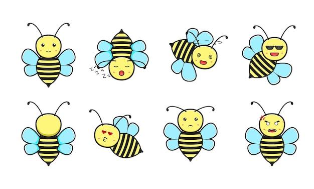 かわいい蜂の漫画アイコンベクトルイラストのセットです。白で隔離のデザイン。フラットな漫画のスタイル。