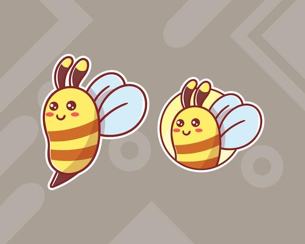Набор симпатичного логотипа талисмана пчелы с дополнительным внешним видом.