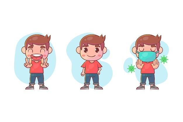 많은 제스처 표정으로 귀여운 소년 캐릭터의 집합입니다.