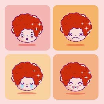 귀여운 소년 emojis 만화 벡터 일러스트 레이 션의 설정