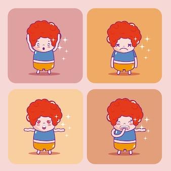 귀여운 소년 emojis 만화 세트