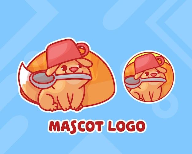 犬のマスコットのロゴとかわいいパンのセット