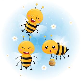 かわいい明るい赤ちゃん蜂水彩画のセット