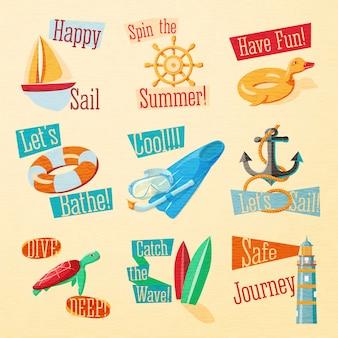 文字体裁の要素を持つかわいい明るい夏のエンブレムのセット。ヨット、ホイール、ゴム製のアヒル、救命浮輪、足ひれ、アンカー、ビーコン、サーフィン、カメ、水泳マスク。