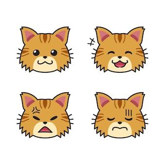 Набор милых коричневых кошачьих мордочек, показывающих разные эмоции