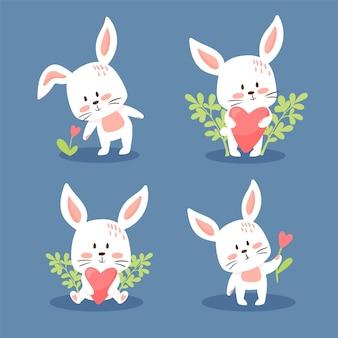 Набор милых кроликов. коллекция милых маленьких кроликов.