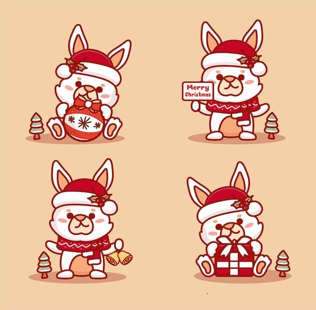 크리스마스를 축하하는 귀여운 토끼 세트입니다. 선물, 징글벨, 메리 크리스마스 텍스트를 들고 있습니다.