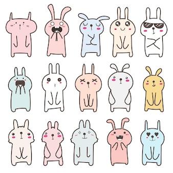 Набор милый кролик дизайн персонажей.