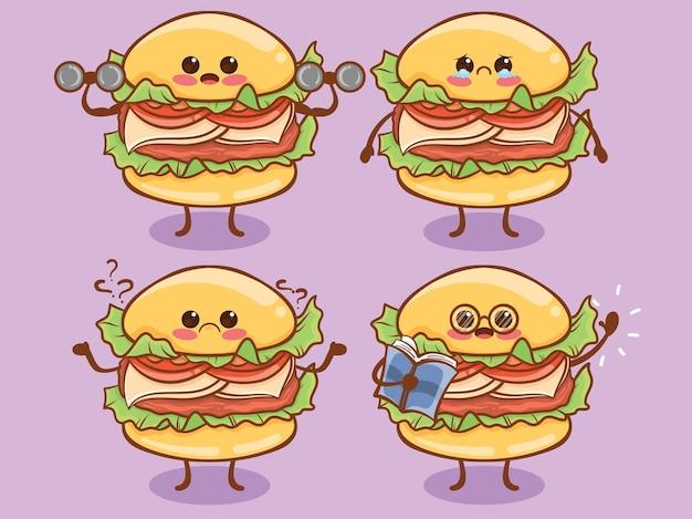 Набор милый бургер все выражения. мультфильм