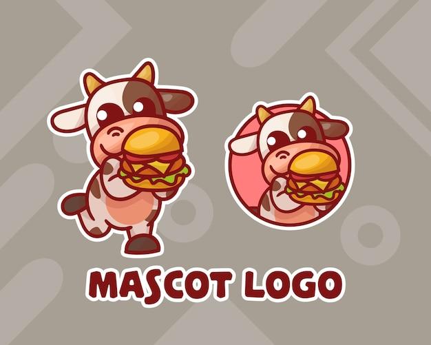 귀여운 햄버거 소 마스코트 로고 세트