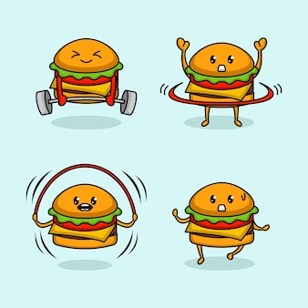 Набор симпатичного дизайна талисмана бургера