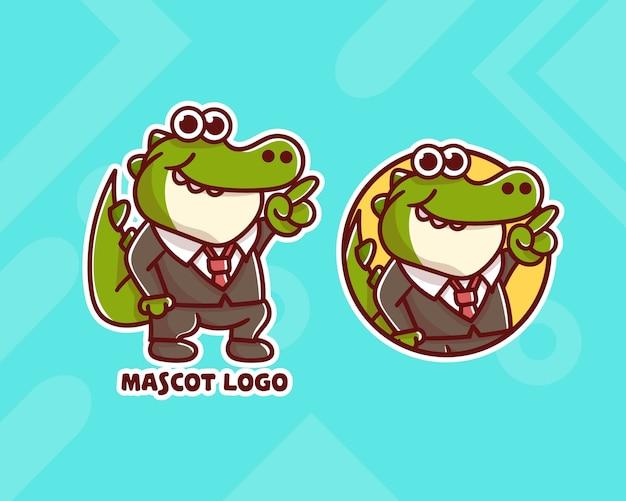 Набор симпатичного бизнес-логотипа крокодила с дополнительным внешним видом. каваи
