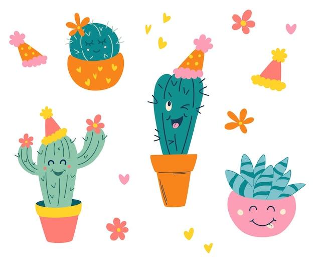 Набор милых кактусов. домашние растения. кактусы с рожицами в горшках. для открыток, поздравительных открыток, приглашений или в виде стикера. ручной обращается векторные иллюстрации в современном модном мультяшном стиле