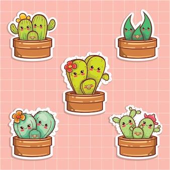 Набор милых кактусов семьи мультфильм стикер иллюстрации