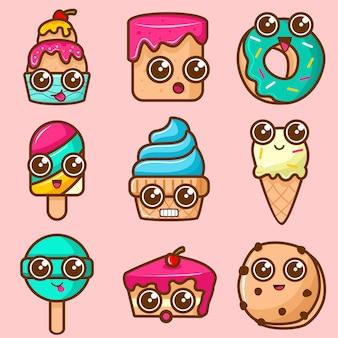 かわいいケーキとアイスクリームのキャラクターのセット