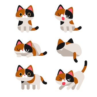다른 행동에 귀여운 얼룩 고양이 캐릭터 세트 절연