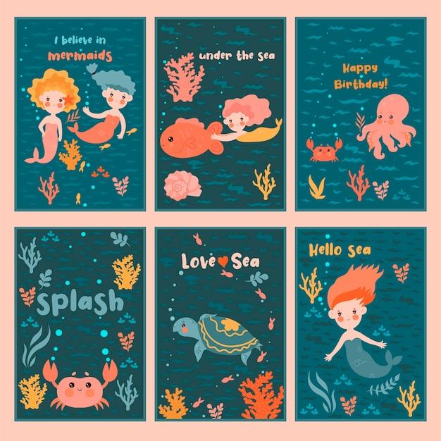 人魚とかわいいカードのセット。