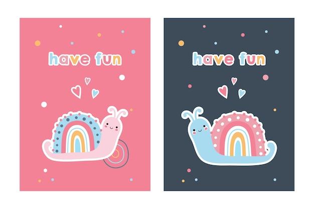 虹のカタツムリとかわいいカードのセット