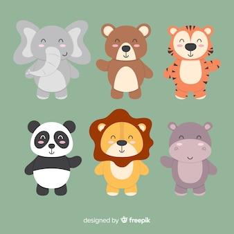 귀여운 만화 동물 세트