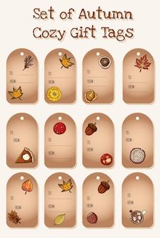 Набор милый мультфильм осенние элементы подарочные теги. симпатичная коллекция этикеток осенью. грибы, желудь, яблочный пирог с тыквой