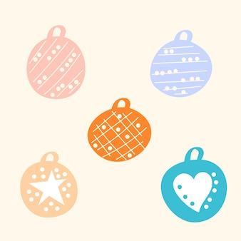 Набор милых мультяшных цветных новогодних украшений, оригинальный рисунок векторной графики