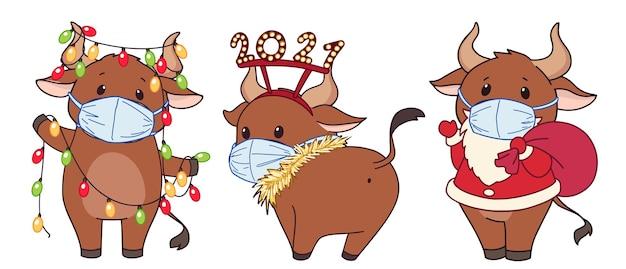 의료 마스크와 크리스마스 의상을 입고 귀여운 만화 소의 집합입니다.