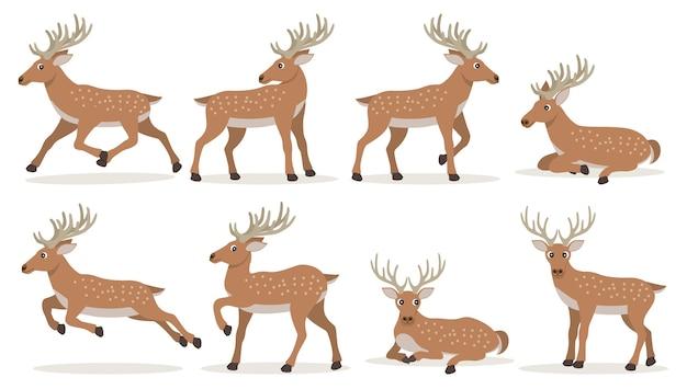 긴 뿔을 가진 귀여운 만화 사슴 세트