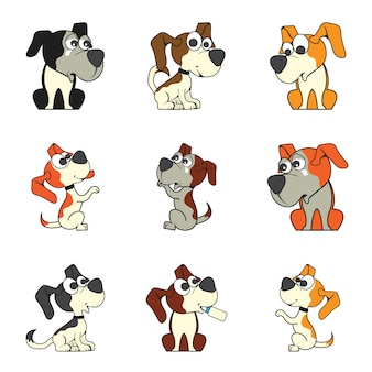Set of cute cartoon dog
