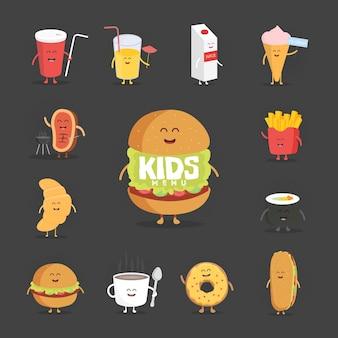 Набор милый мультфильм персонажей быстрого питания. картофель фри, пицца, пончик, хот-дог, попкорн, гамбургер, кола, круассан и кофейная кружка. шаблон для меню кафе и ресторанов. детское питание.