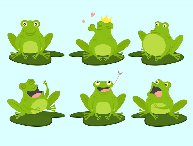 귀여운 만화 개구리의 집합입니다. 귀엽고, 웅크 리고, 사랑에 빠졌고, 웃고, 두려워하고, 배고프다. 벡터 일러스트 레이 션.