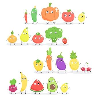 Набор фруктов и овощей милый мультфильм. плоский