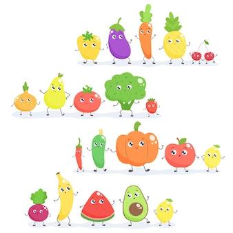 Набор фруктов и овощей милый мультфильм