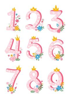 Набор милых, мультяшных, девчачьих чисел от 1 до 10 с цветами для приглашения, шаблон карты. элемент мультфильма. векторная иллюстрация квартиры.
