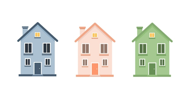 Набор милый мультфильм домов иллюстрации.
