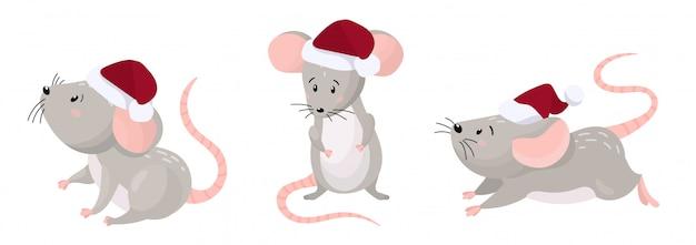 Набор милых мультяшных мышей в красной рождественской шапке. новый год 2020 дизайн. иллюстрация на белом фоне.
