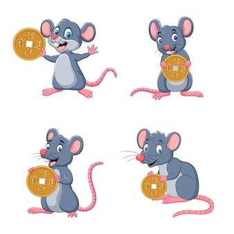 Набор милый мультфильм мышь держит золотую монету с другой позой