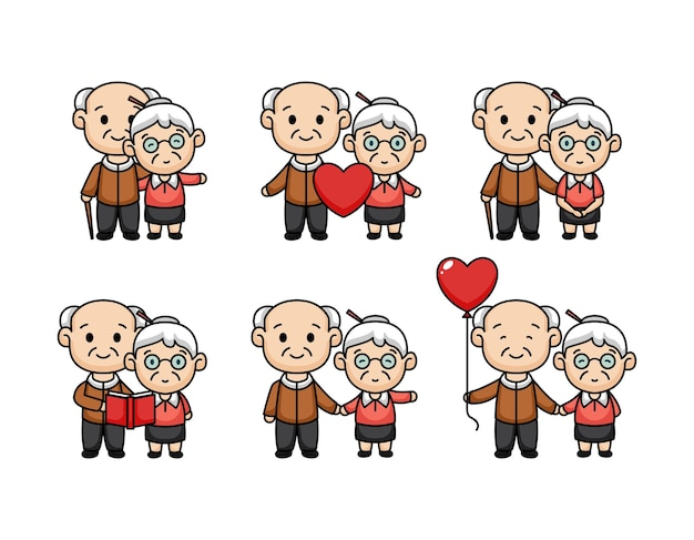 발렌타인 데이에 노인 부부의 귀여운 만화 세트