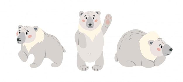 かわいい漫画のシロクマのセットです。北極の白いクマは、白い背景で隔離。イラストセット。