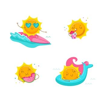 海の波でかわいい漫画の太陽サーフィンのセット