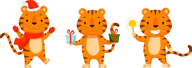 プリントキッズカードポスターtシャツと面白いアバターのためのかわいい漫画の虎フラットポスターのセット