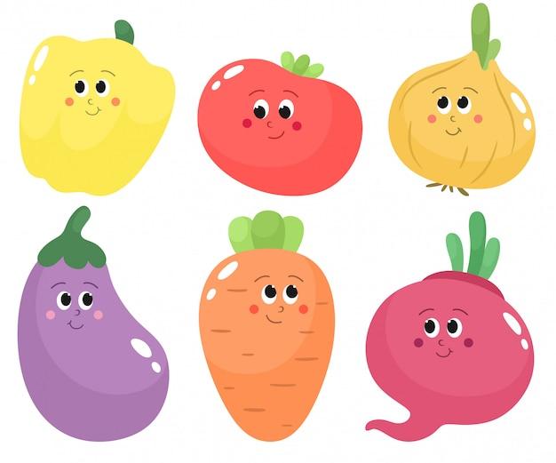 かわいい漫画の野菜のセットです。トマト、ナス、ニンジン、タマネギ、ビート、パプリカ。漫画のフラットスタイルで分離します。