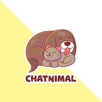 선택적 모양의 귀여운 고양이와 강아지 마스코트 로고 세트.