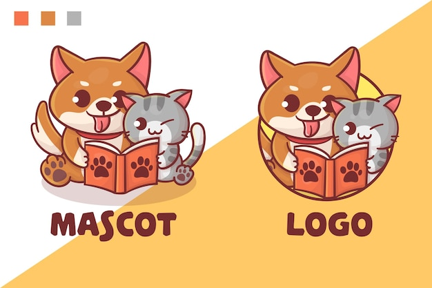 귀여운 고양이와 강아지의 세트는 선택적 모양으로 책 마스코트 로고를 읽습니다.