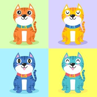かわいい猫キャラクター漫画イラストフラットデザインコンセプトのセット