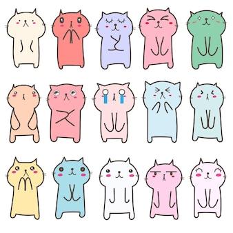 Набор милый дизайн персонажей кошки.
