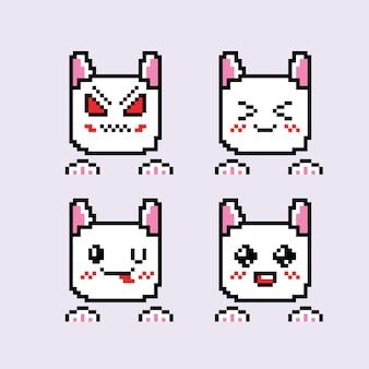 ピクセルアートとかわいい猫の絵文字のセット